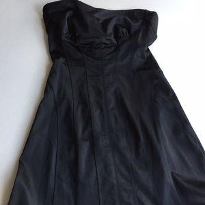 Bebe strapless satin pretty  little black dress l